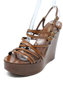 Saint Laurent Brown Leather Wedge Sandals 1