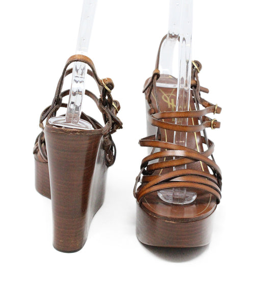 Saint Laurent Brown Leather Wedge Sandals 3