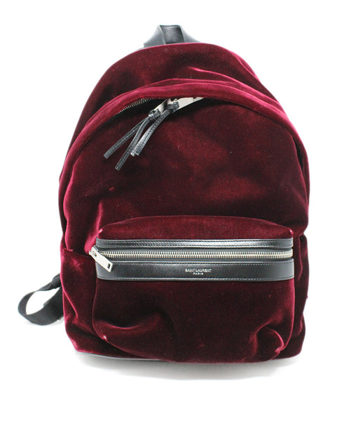 Saint Laurent Burgundy Velvet Backpack 1