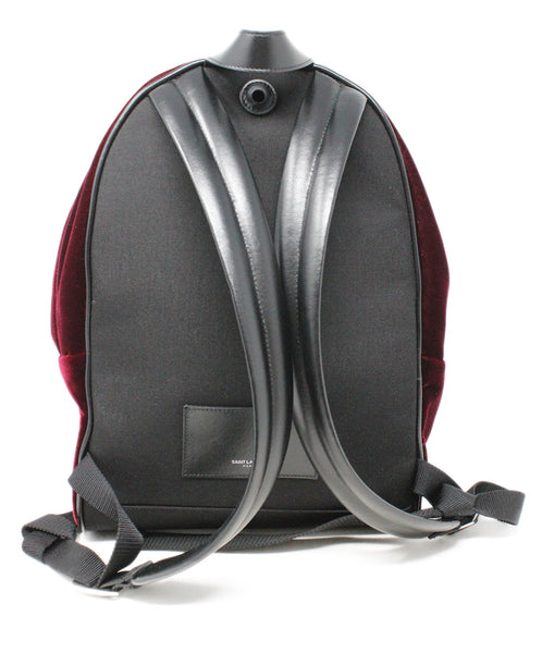 Saint Laurent Burgundy Velvet Backpack 3