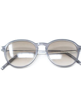 Saint Laurent Grey Lucite Metal W/Case Sunglasses 1