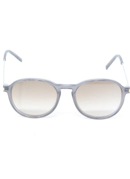 Saint Laurent Grey Lucite Metal W/Case Sunglasses 2