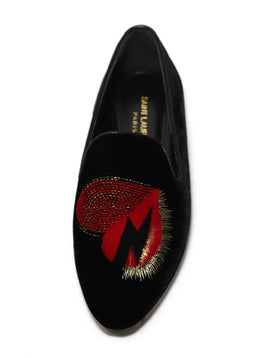 Saint Laurent Velvet Black Heart Loafers 1