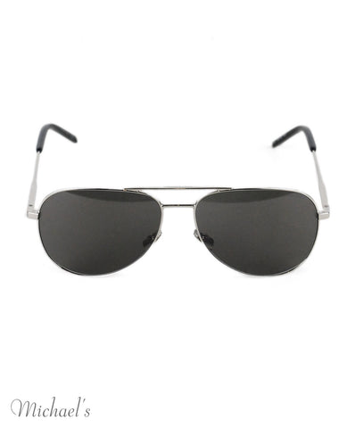 Saint Laurent Silver Metal Aviator Sunglasses