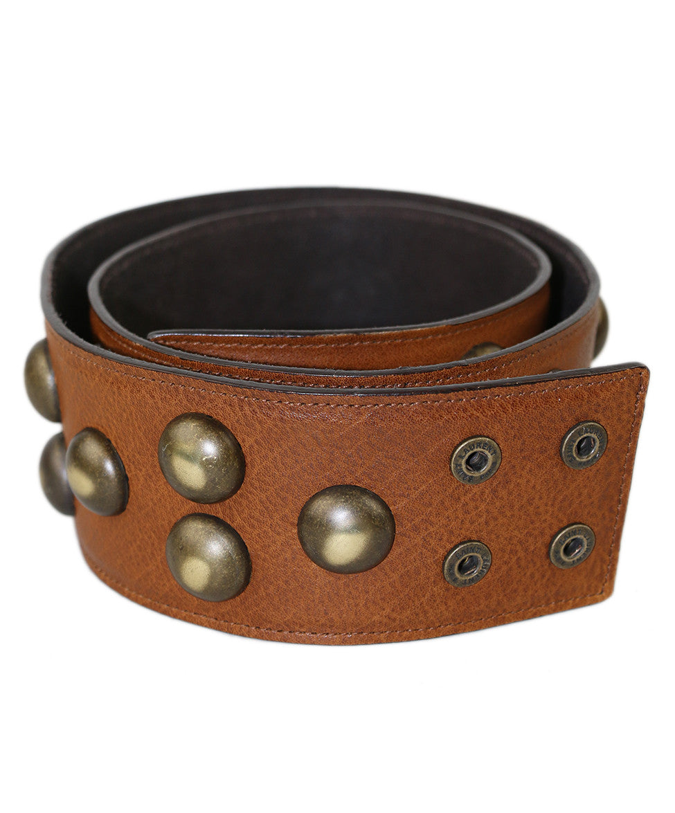 Saint Laurent Tobacco Leather Brass Accent Belt - Michael's Consignment NYC  - 1