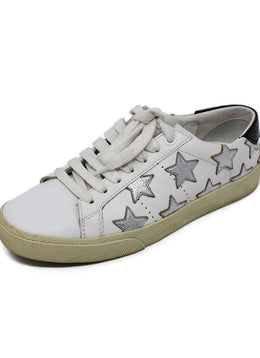 Saint Laurent White Leather Sneakers with Silver Stars Detail 1