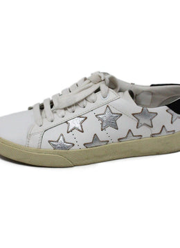 Saint Laurent White Leather Sneakers with Silver Stars Detail 2