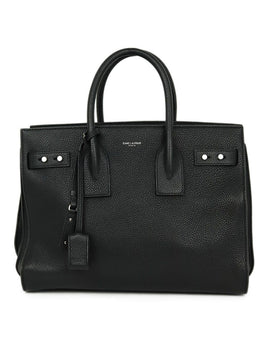 Saint Laurent Black Leather W/Strap W/Lock & Keys Tote Handbag 1