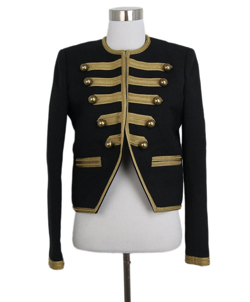 Saint Laurent black silk gold buttons trim jacket 1