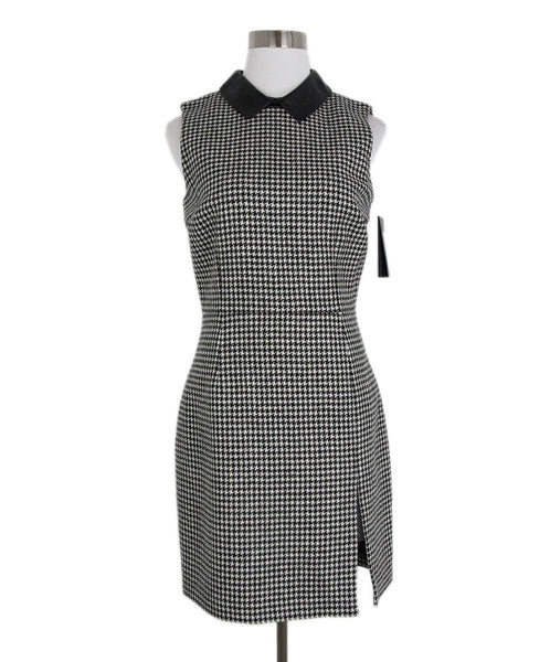 Saint Laurent Black White Herringbone Leather Collar Dress 1
