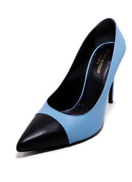 Saint Laurent Blue Leather Black Trim Heels 1