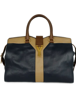 Saint Laurent Blue Navy Brown Taupe Leather Satchel Handbag 1