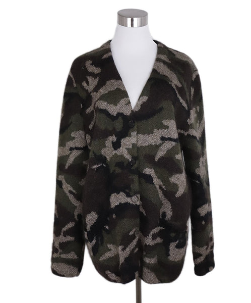 Saint Laurent Brown Green Camouflage Print Mohair Sweater 1