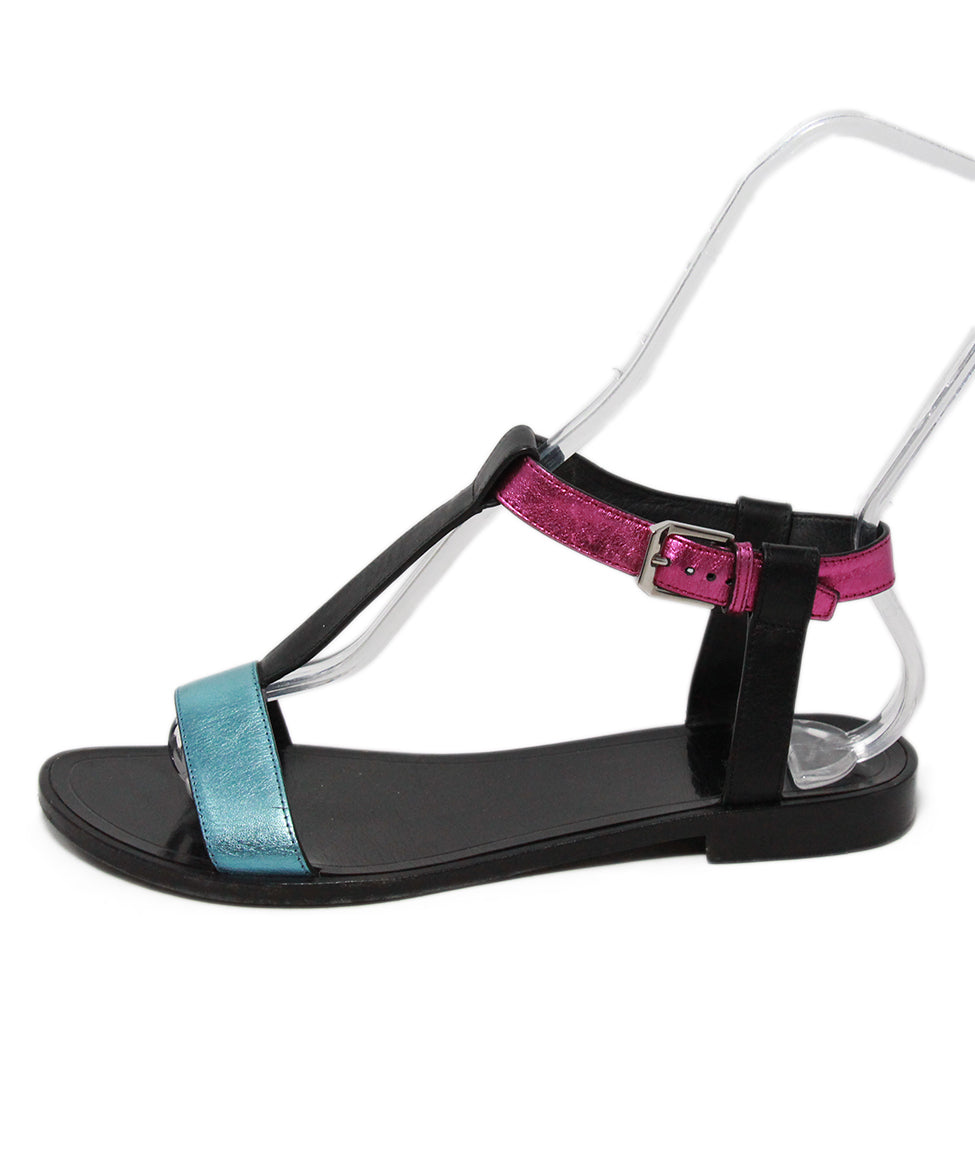 Saint Laurent metallic pink turquoise sandals 2