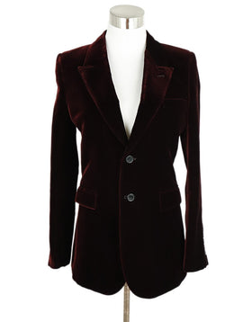 Saint Laurent Red Burgundy Velvet Blazer Jacket 1