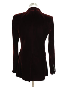 Saint Laurent Red Burgundy Velvet Blazer Jacket 3