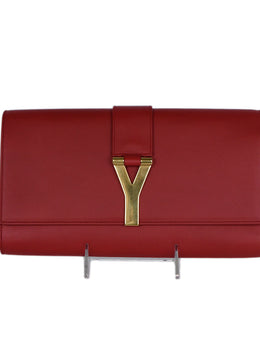 Saint Laurent Red Leather Clutch Handbag 1