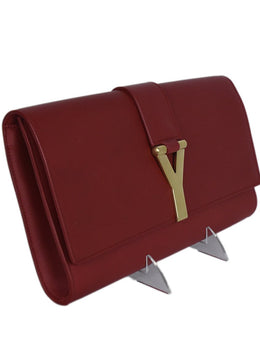 Saint Laurent Red Leather Clutch Handbag 2