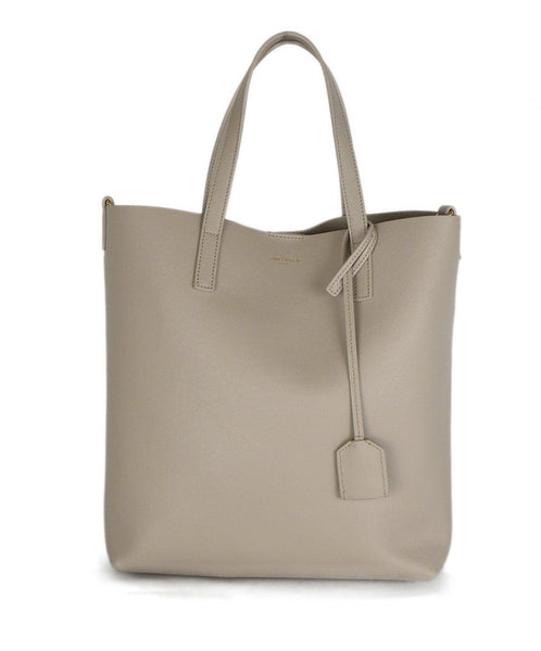 Saint Laurent Taupe Leather Tote Handbag 1