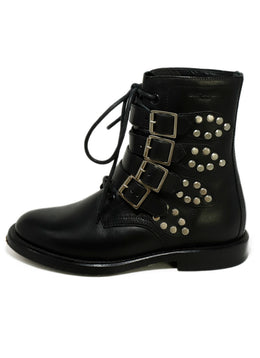 Saint Laurent Black Leather Studs Booties 2