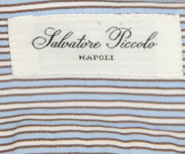 Salvatore Piccolo Blue and White Striped Blouse 4