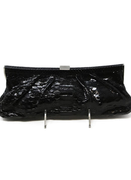 Samia Kamar Black Snake Skin Leather Clutch 1