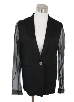 Sandro Black Linen Jacket with Sheer Sleeves 1