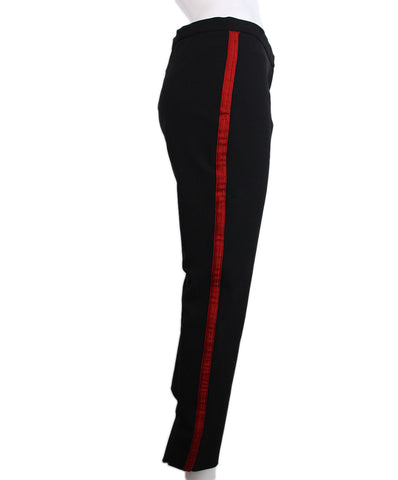 Sandro  Black Red Velvet Trim Pants 1
