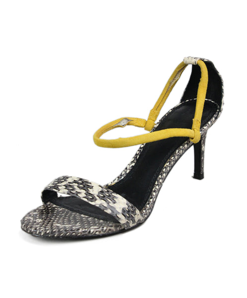 Sandro Black Snakeskin Yellow Suede Sandals 1