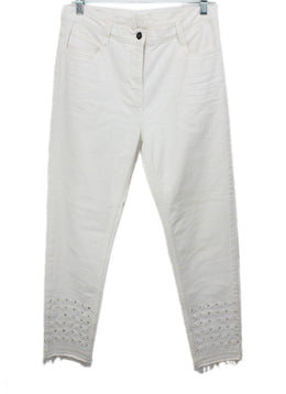 Sandro White Denim Studs Pants 1