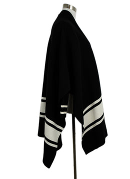 Sandro Black Wool White Trim Sweater Coat 2