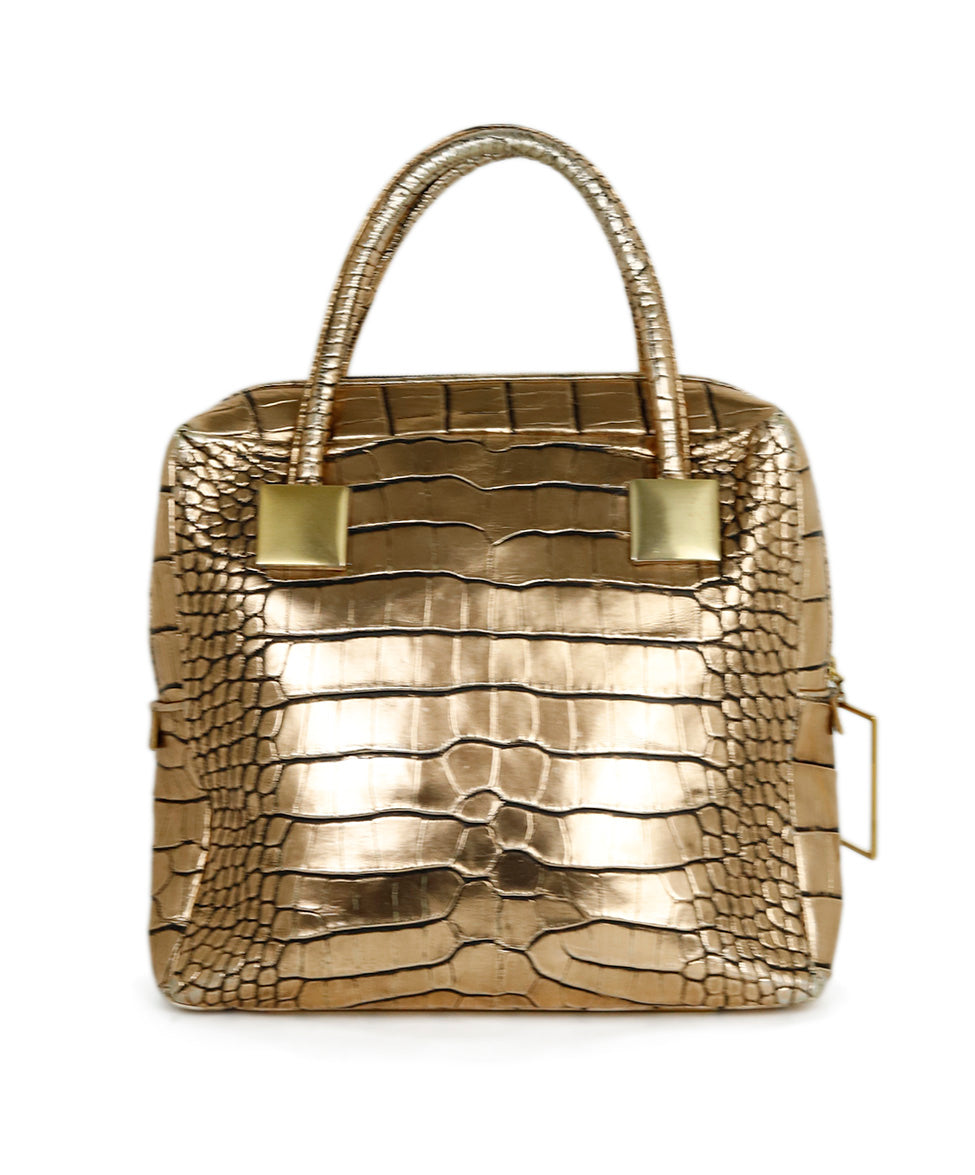 Sang A Metallic Gold Pressed Leather Handbag 1