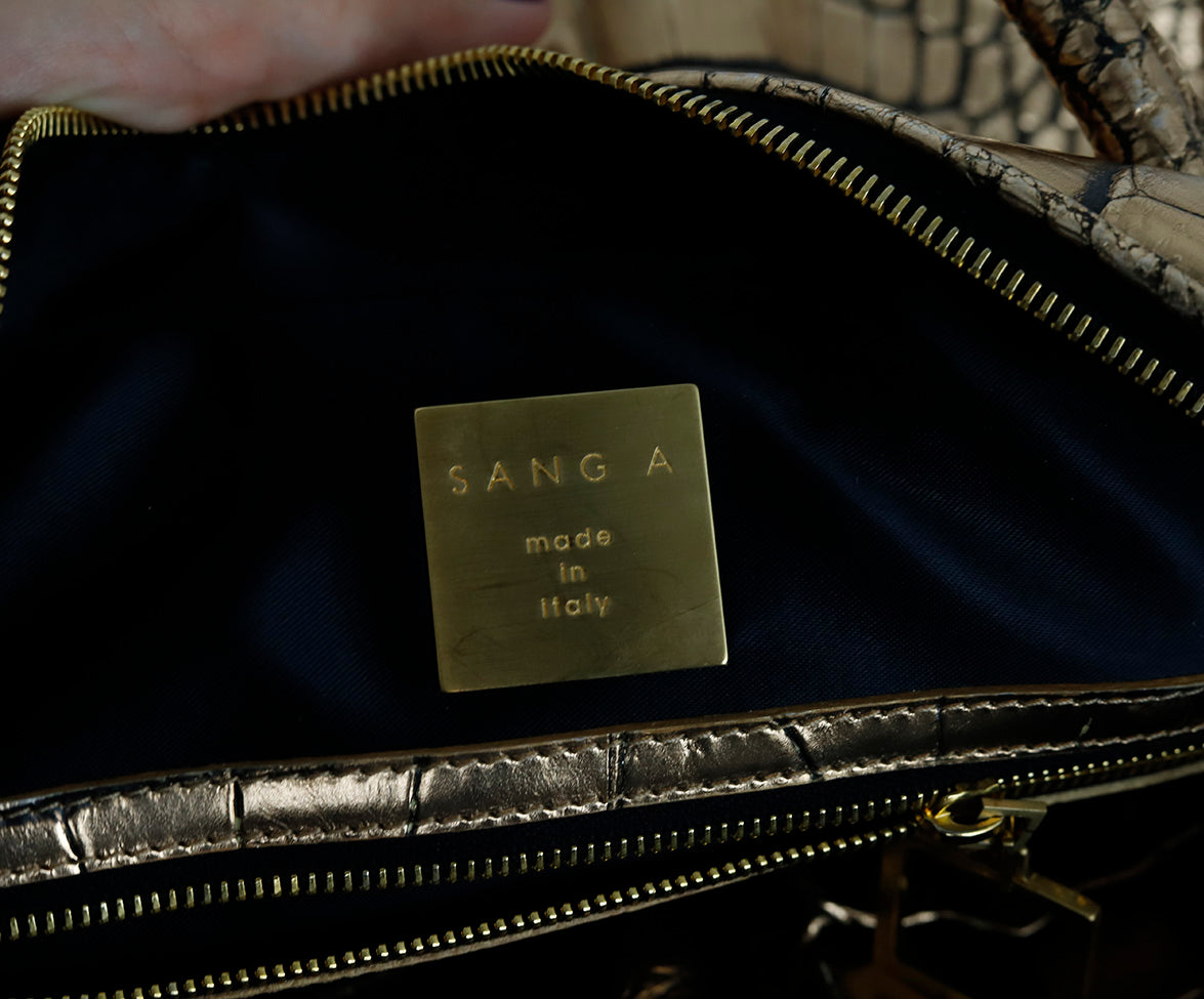 Sang A Metallic Gold Pressed Leather Handbag 7
