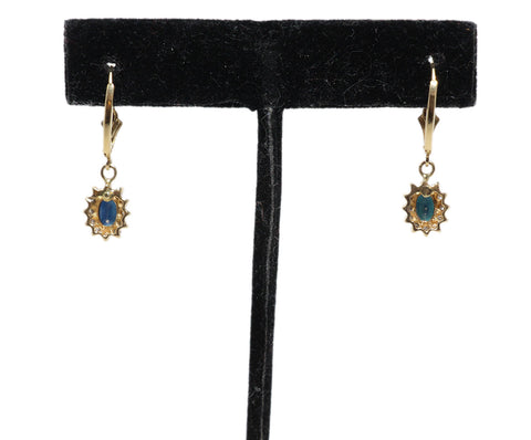 Sapphire 14 K Gold Diamond Earrings 1