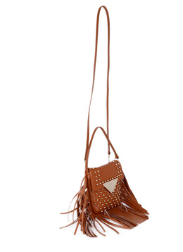 Sara Battaglia Tan Leather Fringe Crossbody Handbag 2