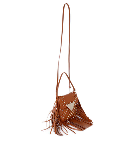 Sara Battaglia Tan Leather Fringe Crossbody Handbag 1