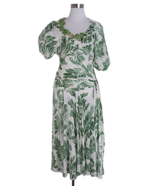 Scervino Green White Floral Jewel Trim Dress 1