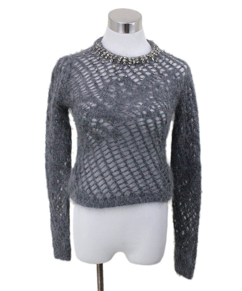 Scervino Grey Charcoal Mohair Polyamide Rhinestones Sweater