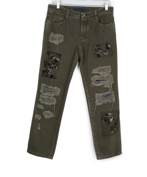 Scervino olive distressed denim pants 1