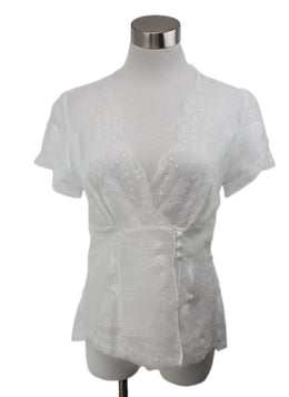Scervino White Silk Eyelet Detail Blouse 1