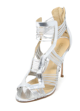 Schutz Metallic Silver Leather Stiletto Sandals 1