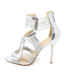Schutz Metallic Silver Leather Stiletto Sandals 2