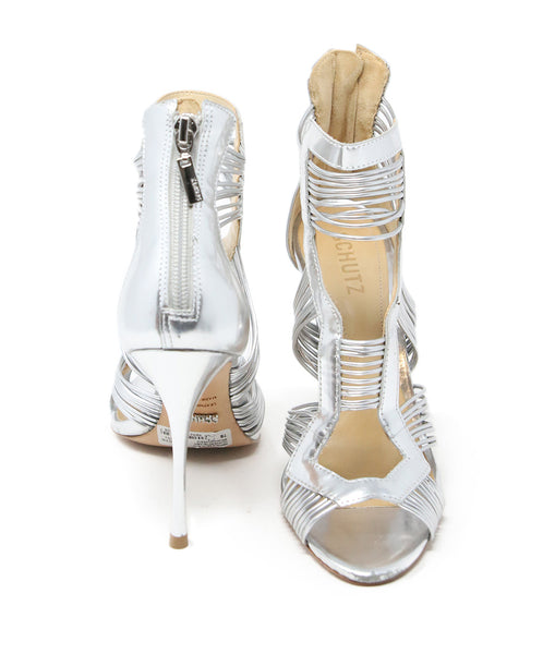 Schutz Metallic Silver Leather Stiletto Sandals 3