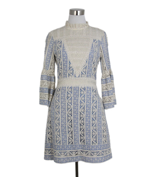 Sea blue ivory cotton crochette dress 1