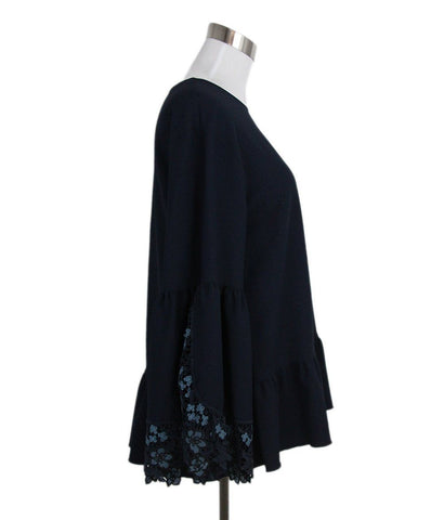 See by Chloe navy polyester lace trim top 1