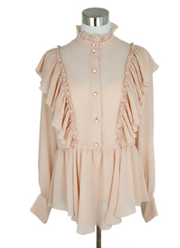 See By Chloe Peach Polyester Ruffle Trim Blouse With Tank Top 1