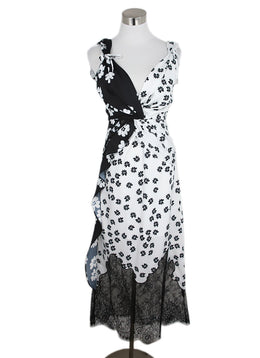 Self-portrait Size 0 Black White Floral Lace Polyester Dress 1
