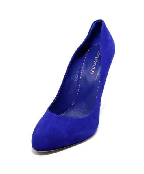Sergio Rossi Purple Blue Suede Bag Heels 1