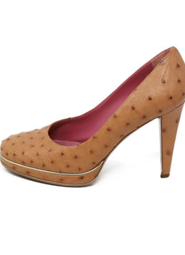 Sergio Rossi Neutral Tan Ostrich Shoes 2