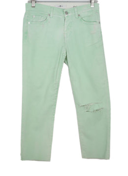 Seven For All Mankind Pastel Green Distressed Cotton Denim Pants 1